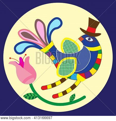 Folk, A Bright Fantastic Bird In The Folk Style, An Interesting Design Of Postcards, Banners, Ads An