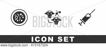 Set Petri Dish With Bacteria, Cloning And Syringe Icon. Vector
