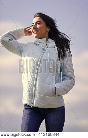 Freshness Of Morning. Explore Your True Style. Beauty And Fashion Look. Girl Spring Jacket Blue Sky