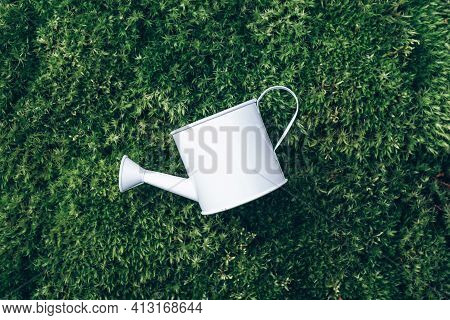 Watering Can On Grass, Moss Background. Top View. Spring Concept