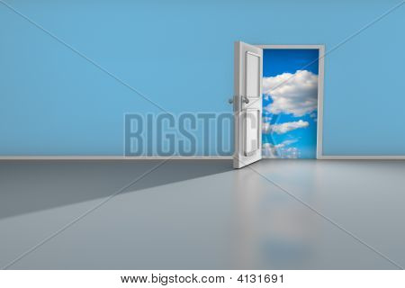 3D render of an open door to a dreamy place. poster