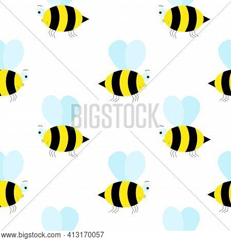 Seamless Background With Cute Bees. Bumblebee, Repeating Continuous Pattern. Vector Pattern For Desi