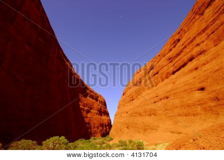Moon Over Red Rock Canyon Cliffs