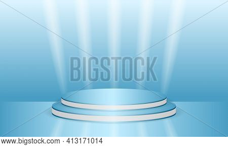 Abstract blue 3d round scene for product display. Podium in blue background with whie lines and light lights. Luxury abstract stage pedestal or scene platform. Vector illustration.