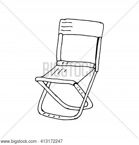 Camping Folding Chair With Backrest Outline Vector. Travel Portable Chair For Outdoor, Beach, Garden