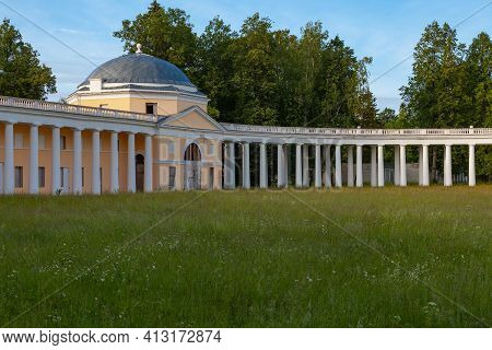 Fragment Of A White Stone Colonnade In An Old Russian Manor. Raek, Russia