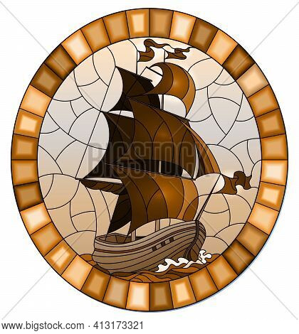 Illustration In Stained Glass Style With An Old Ship Sailing Sails Against The Sea And Sky,  Oval Im