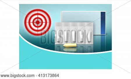 Hemorrhoids Suppositories Promo Banner Vector Illustration Realistic