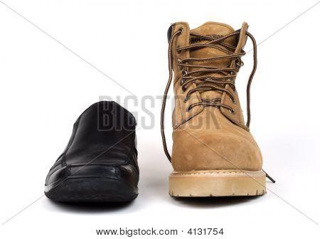 Dress Shoe Beside Work Boot