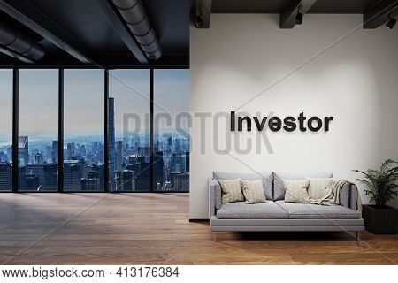 Modern Luxury Loft With Skyline View And Vintage Couch, Wall With Investor Lettering, 3d Illustratio