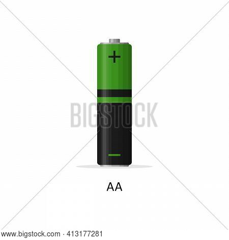Alkaline Battery Aa Isolated On White Background. Rechargeable Battery Energy Storage Cells Flat Mod