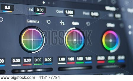 Color Grading Graph Or Rgb Colour Correction Indicator On Monitor