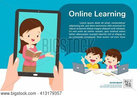 Children Online Learning Tablet Concept ,learning Technology ,e-learning Online Education And Remote