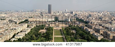 Skyline Cityscape View Of Champ De Mars Park With Military School