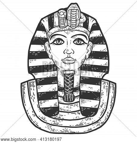 Pharaoh Burial Mask, Tutankhamun. Sketch Scratch Board Imitation.