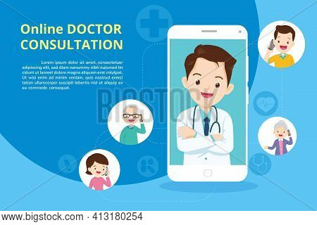 Family With Modern Medicine And Healthcare System Support.smartphone With Doctor On Call Holding Med