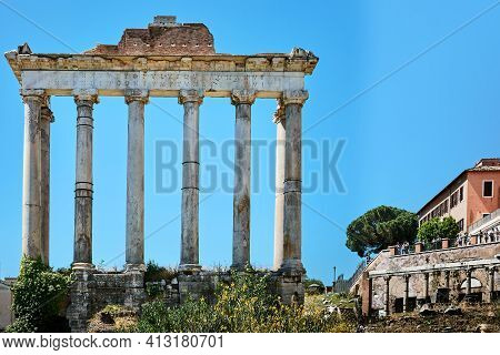 Roman Forum, Rome, Italy - May 17, 2017: View Of The Temple Of Saturn At The Roman Forum, Rome.