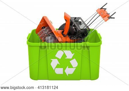 Recycling Trashcan With Snow Blower, Machine. 3d Rendering Isolated On White Background