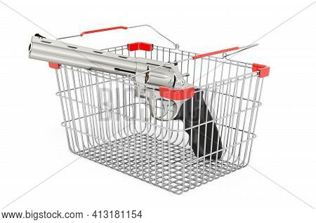 Shopping Basket With Revolver, 3d Rendering Isolated On White Background