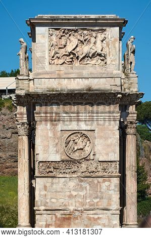 Roman Forum, Rome, Italy - May 17, 2017: Details Of One Of The Side Of The Arch Of Constantine Next