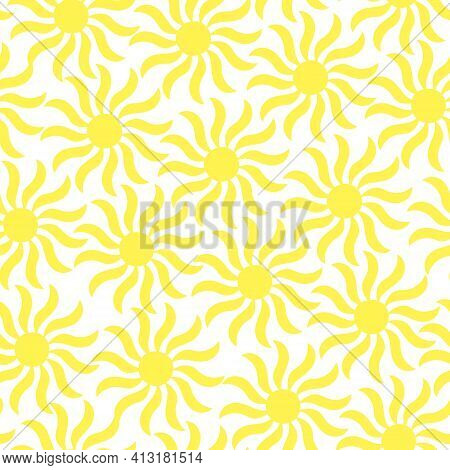Simple Sun Seamless Pattern Vector Illustration, Cute Summer Ornament For Making Textile, Fabrics, D