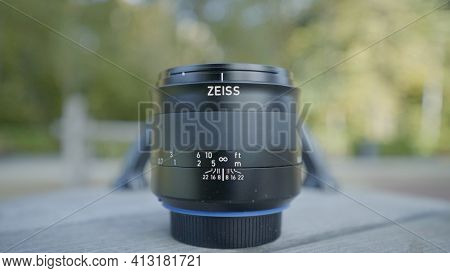 Russia, Moscow-december, 2020: Lens Forgotten In Park. Action. Close-up Of Professional Lens Was Lef