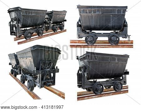 Cut Out Minecarts. Collection Of Old Mine Trolleys On Rusty Rails Isolated On White Background