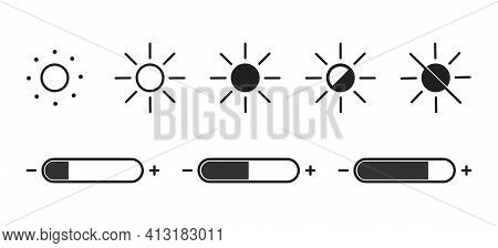 Contrast Adjustment On Screen . . Set Of Brightness Control Icon .brightness Sun Illustration. Vecto