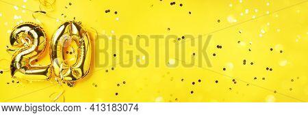 Gold Foil Balloon Number, Digit Twenty. Birthday Greeting Card, Inscription 20. Anniversary Celebrat