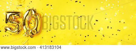 Gold Foil Balloon Number, Digit Fifty. Birthday Greeting Card, Inscription 50. Anniversary Celebrati