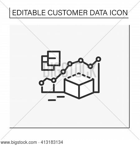 Predictive Modeling Line Icon. Process That Uses Data And Statistics To Predict Outcomes With Data M