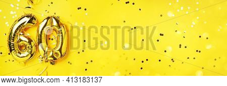 Gold Foil Balloon Number, Digit Sixty. Birthday Greeting Card, Inscription 60. Anniversary Celebrati