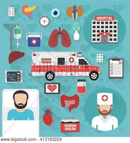 Healthcare Concept Design Flat Set. Human Organ For Transplant. Vector Illustration