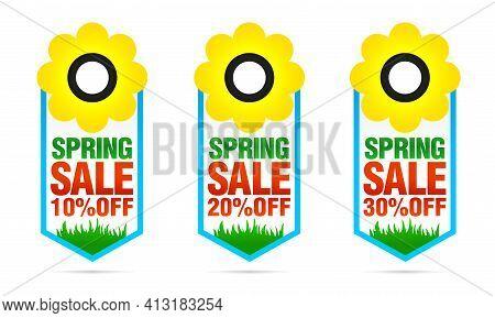Set Of Colorful Spring Sale Badges 10%, 20%, 30% Off With Flower. Vector Illustration