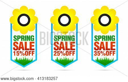 Set Of Colorful Spring Sale Badges 15%, 25%, 35% Off With Flower. Vector Illustration