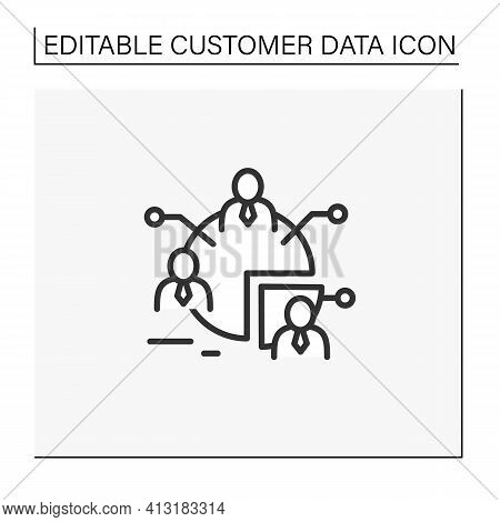 Audience Segments Line Icon. Process Of Dividing An Audience Into Groups Of People Who Have Similar