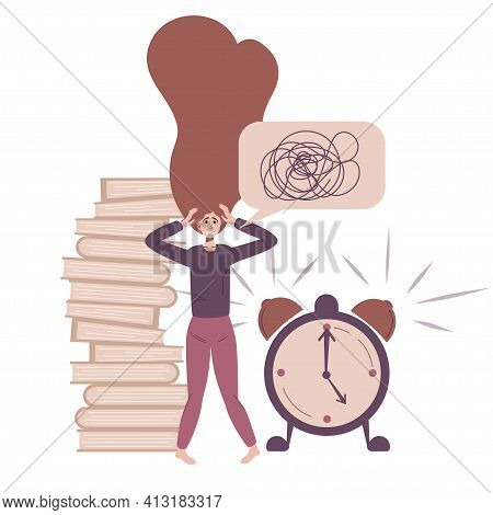 Stress At Work. Burnout And Fatigue From Paperwork And Problems, Running Late On Time . The Employee