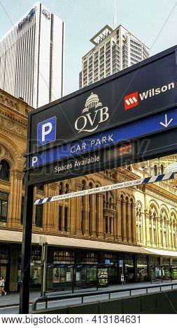 Sydney, Australia - Dec 16, 2018: Signage And Direction To The Underground Wilson Car Park Facility