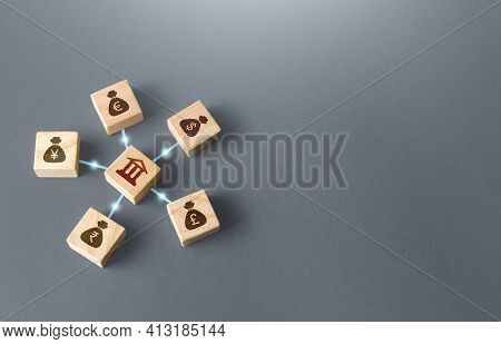 Linked Blocks Bank And World Currencies Money Bags. Financial System, Concept Of National Reserve Sy