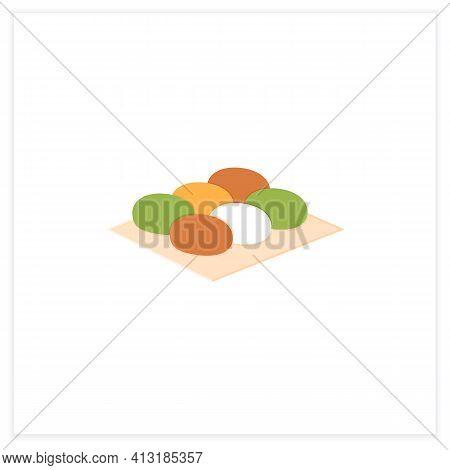 Botamochi Flat Icon. Sweet Japanese Confection. Ohagi Dessert.spring Japanese Food Concept. Vector I