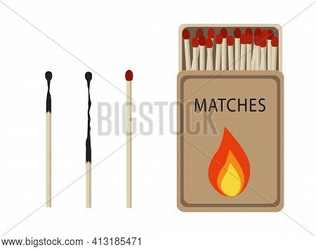 Matches Set. Opened Matchbox With Fire, Burnt Matchstick Isolated On White Background. Vector Illust