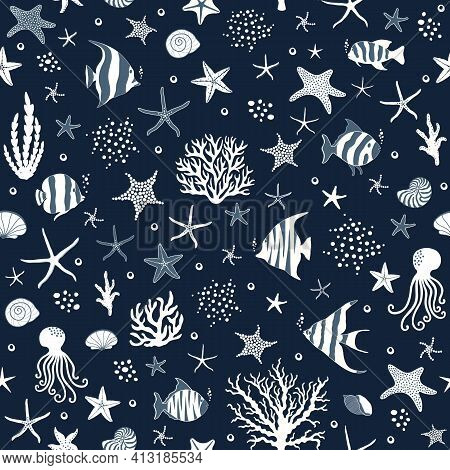 Marine Seamless Pattern With Fishes And Conchs And Starfishes On Blue Background