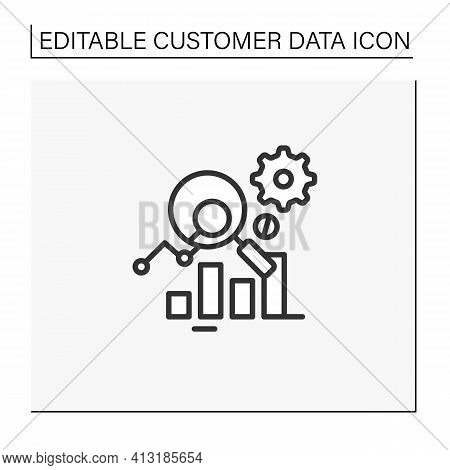 Measurement Analytics Line Icon. Combines Measurement Science And Validity Theory, Using Digital Big