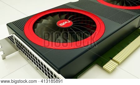 Three-dimensional Model Of A Modern Video Card On A White Background. Gpu. 3D Render Illustration