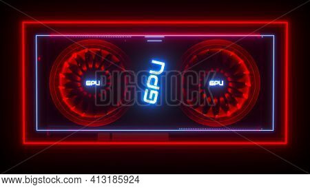 Video Card In Neon Light On A Black Background. Three-dimensional Computer Background Of The Gpu. 3D