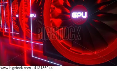 Multiple Video Cards Highlighted With Red Neon Light On A Black Background. Crypto Farm Concept. Min