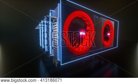 Several Video Cards Highlighted With Blue Neon Light On A Black Background. Crypto Farm Concept. Min