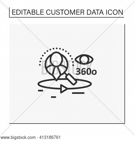 360-degree Customer View Line Icon.all Client Data In One Place. Interactions With Customer Service,