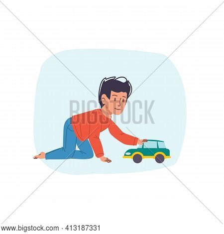 Vector Cartoon Flat Boy Character Happy Kid Playing With Toy Car- Childrens Fashion, Kids Toys, Comm
