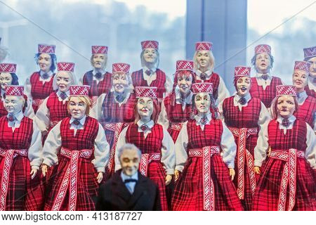 April, 15, 2017, - Jurmala, Latvia: Real Puppet Choir In Latvian Costumes For Editorial Use